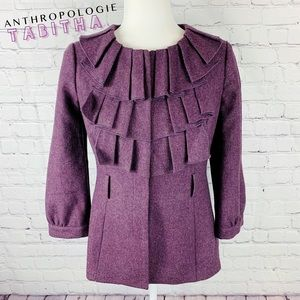 Anthro Tabitha Foliage Finder Purple Ruffle Jacket